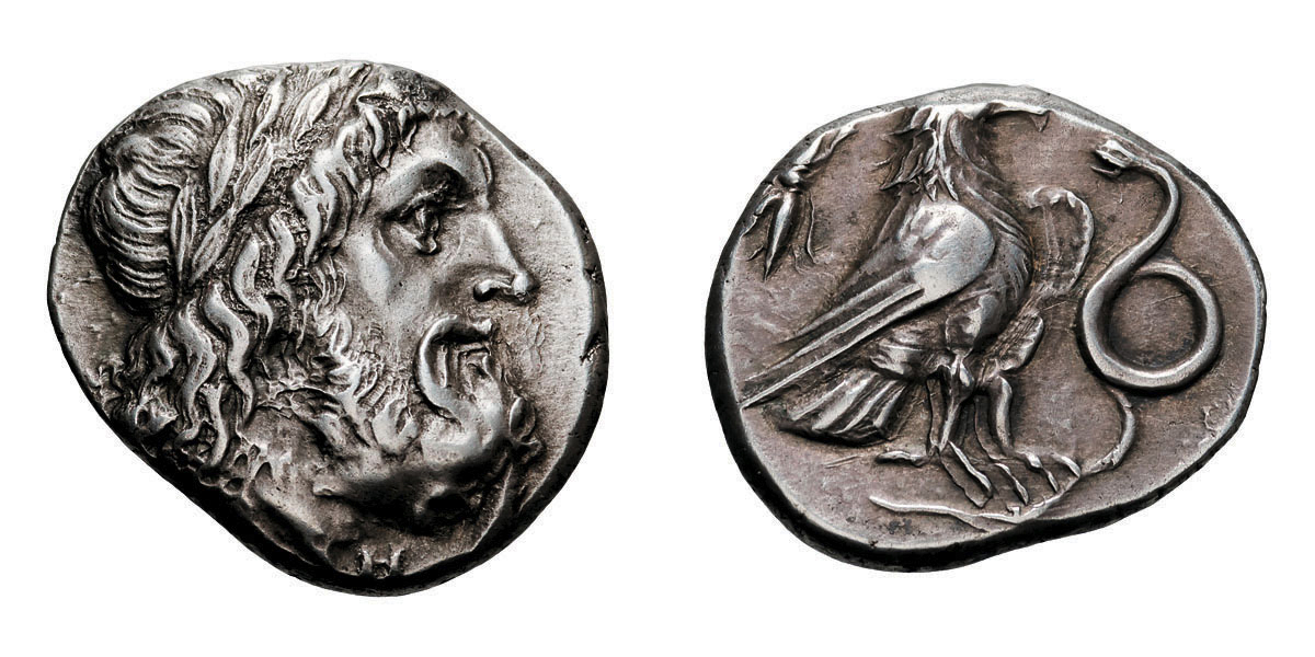 Lot 53 - Elis, Olympia. 270s-260s BC. Stater, 11.96g (10h). Obv: Laureate head of Zeus right. Rx: Eagle