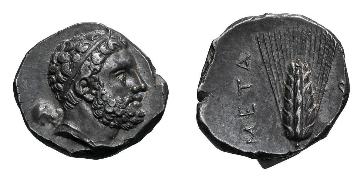 Lot 6 - Lucania, Metapontum. c. 290-280 BC. Nomos, 7.92g (6h). Obv: Diademed head of Herakles right, with