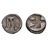 Lot 11 - Bruttium. Croton. c. 490-480 BC. Stater, 7.74g (9h). Obv: Delphic tripod, with three handles, and