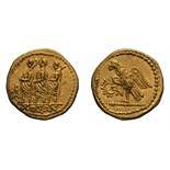 Lot 34 - Koson. 44-43 BC. Gold stater, 8.48g (11h). Obv: Roman consul walking left, accompanied by two