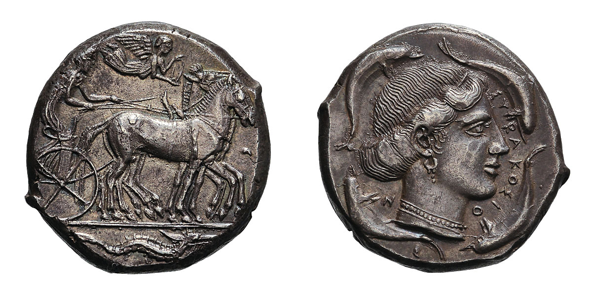 Lot 16 - Sicily. Syracuse. Second Democracy. c. 474-450 BC. Tetradrachm, 17.29g (3h). Obv: Charioteer driving