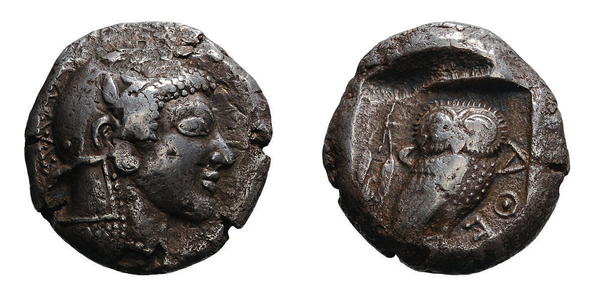 Lot 42 - Attica. Athens. c. 475/70 BC. Tetradrachm, 16.76g (1h). Obv: Head of Athena right, wearing crested