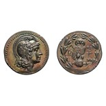 Lot 45 - Attica. Athens. New Style. 155/154 BC. Tetradrachm, 16.90g (11h). Obv: Head of Athena right, wearing