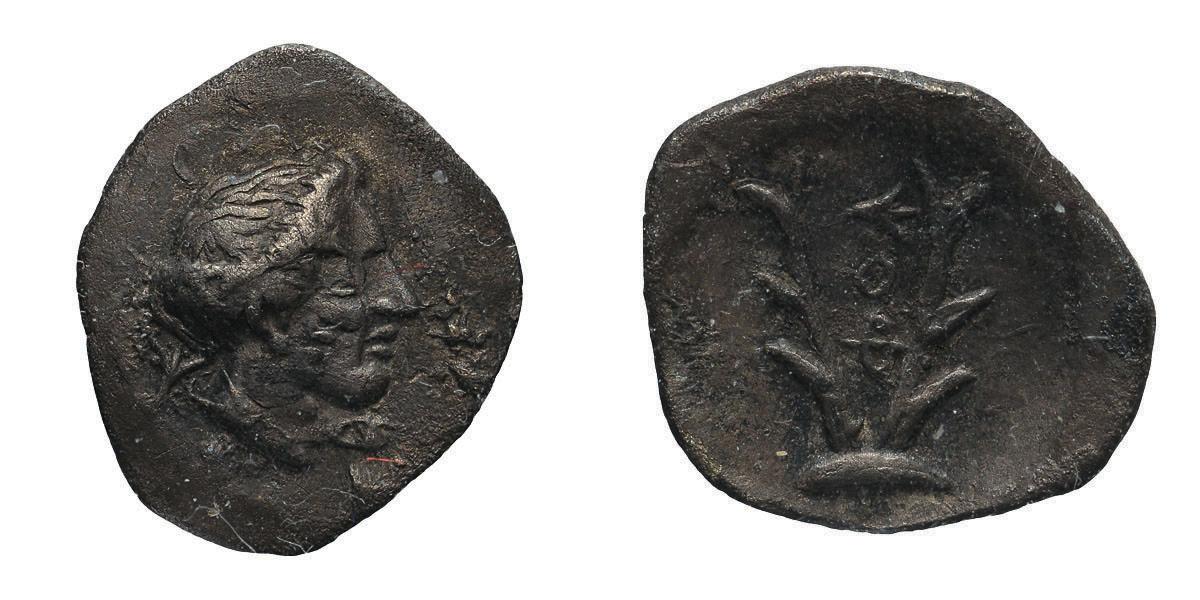 Lot 55 - Arcadia, Psophis. Third quarter of 4th century BC. Obol, 0.77g (2h). Obv: Head of Artemis Erykine