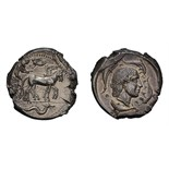 Lot 15 - Sicily. Syracuse. Second Republic. c. 450-440 BC. Tetradrachm, 17.42g (10h). Obv: Charioteer driving