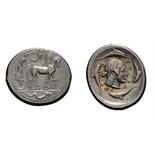 Lot 14 - Sicily. Syracuse. Hieron I. c. 474-450 BC. Tetradrachm, 17.33g (3h). Obv: Charioteer driving walking