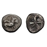 Lot 25 - Chalcidian District. Mende. c. 520-480 BC. Tetradrachm, 17.03g (11h). Obv: Ityphallic donkey