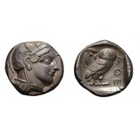 Lot 43 - Attica, Athens. c. 445-440 BC. Tetradrachm, 17.15g (5h). Obv: Helmeted head of Athena right. Rx: Owl
