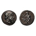 Lot 13 - Sicily. Naxos. c. 460-430 BC. Drachm, 4.26g (8h). Obv: Head of Dionysos right, wearing ivy wreath.
