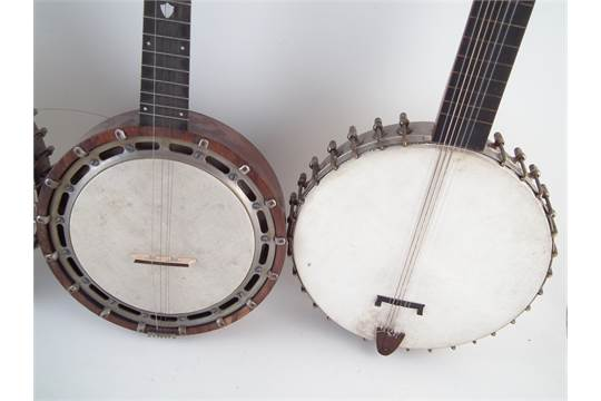George Mathews five string fret less banjo, serial number