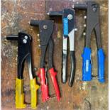 DESCRIPTION ASSORTED HAND RIVETERS AS SHOWN LOCATION BASEMENT THIS LOT IS ONE MONEY QUANTITY 1