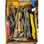 DESCRIPTION BOX OF ASSORTED HAND TOOLS AS SHOWN LOCATION BASEMENT THIS LOT IS ONE MONEY QUANTITY 1
