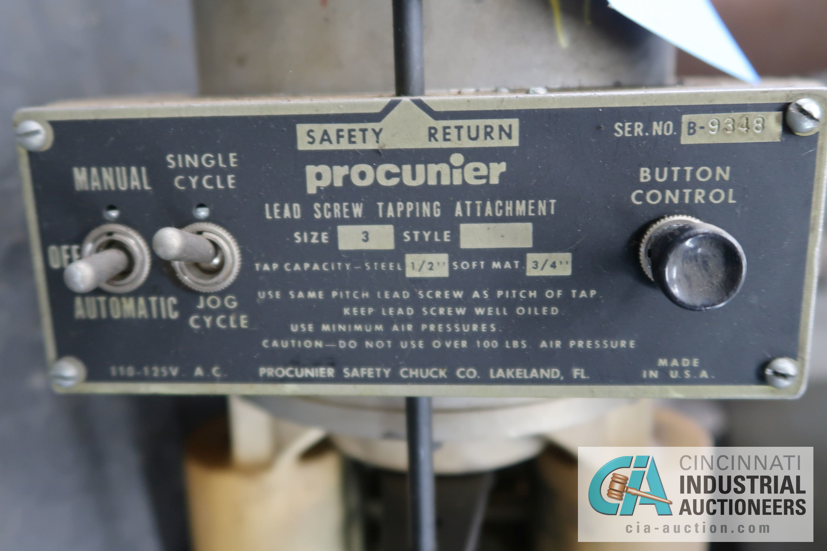 PROCUNIER MODEL 3 TAPPING HEAD - Image 2 of 3