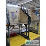 CUSTOM ASSEMBLY LINE WITH ROLLER CONVEYOR, TIPPER AND STEEL STORAGE BIN