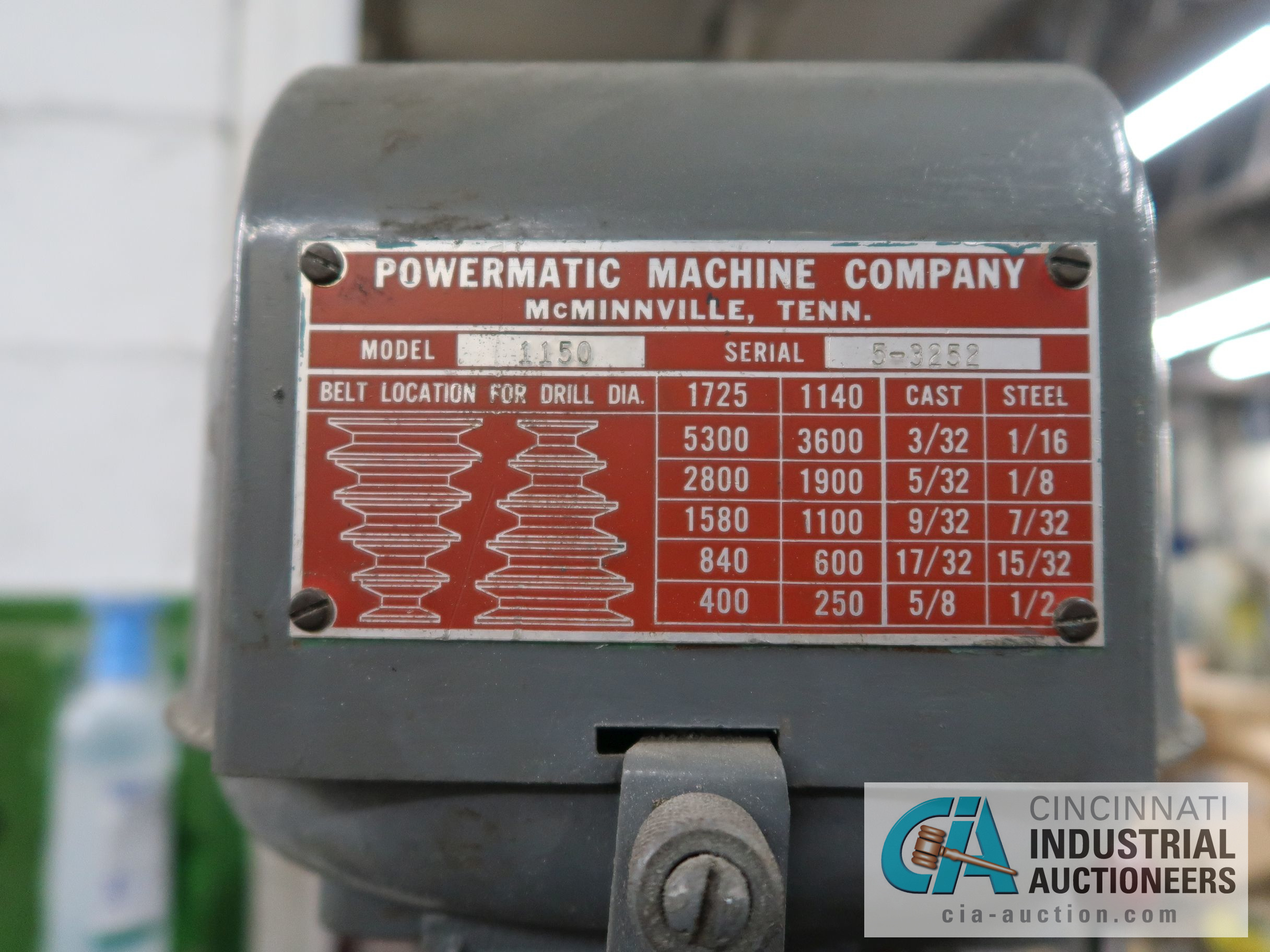 POWERMATIC MODEL 1150 12-SPEED DRILL PRESS; S/N 5-3252 - Image 4 of 4