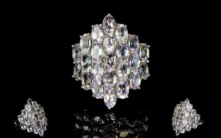 Lot 194 - Rose De France Amethyst Cluster Ring A l