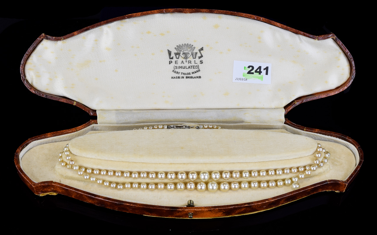 Lot 241 - Lotus Double Strand Simulated Pearl Neck