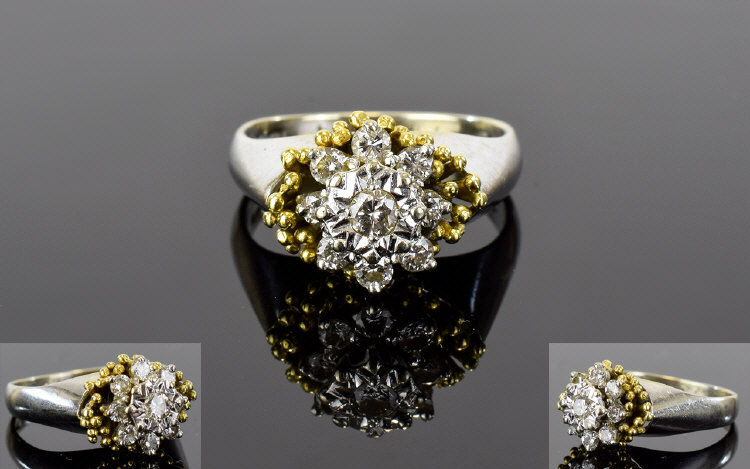 Lot 42 - 18ct Gold Set Diamond Cluster Ring. Flow