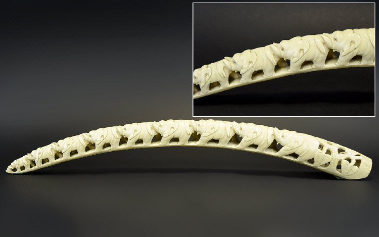 Lot 104 - Antique Period Finely Carved Ivory Tusk