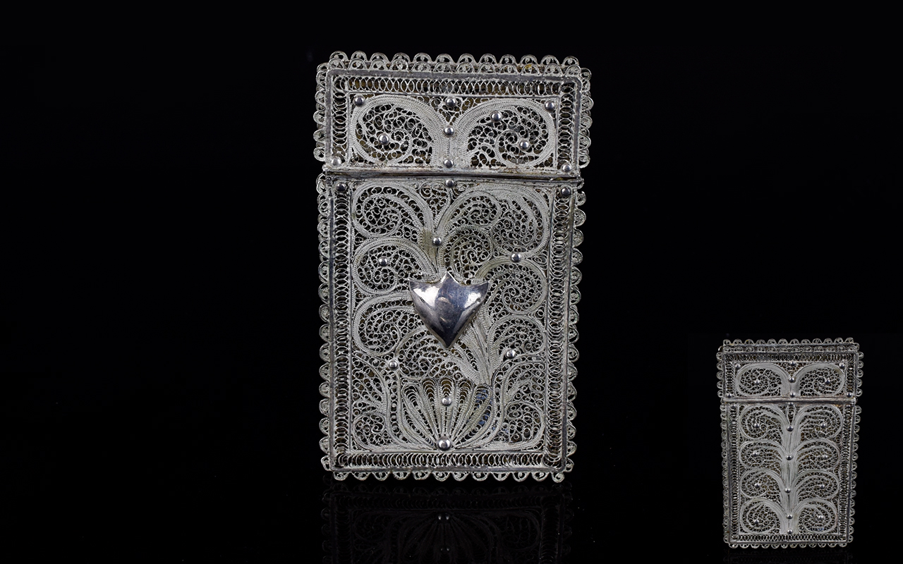 Lot 262 - North African White Metal Filigree Card