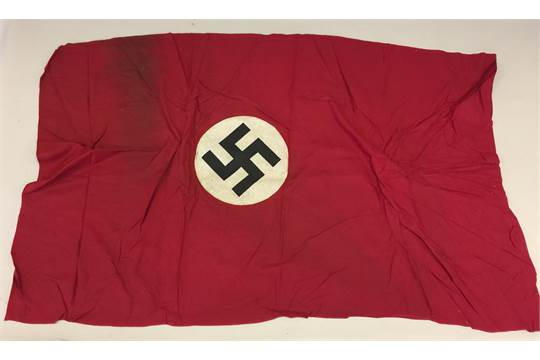 THIRD REICH FLAGS AND PENNANTS  9 pieces to include flags, patches