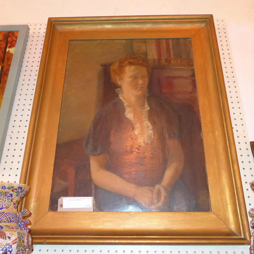 Lot 43 - An oil on canvas portrait of Alice Mary Hadfield by Lynton Lamb in gilded frame
