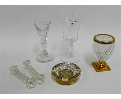 Lobmeyr goblet, ormolu mounted glass, decorative glass, pair of knife rests, an Art Deco French style glass ashtray, (6)