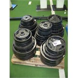 METAL OLYMPIC WEIGHT PLATES. MISC. SET PALLET LOT