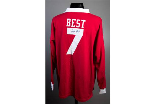 online retailer e477d ad1f0 A Manchester United retro shirt signed by George Best ...