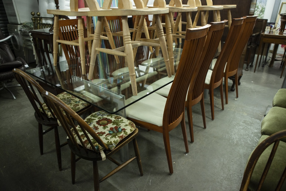Lot 3 - LARGE MODERN GLASS DINING TABLE ON CHROME BASE WITH 8 CHERRY WOOD TALL BACK DINING CHAIRS