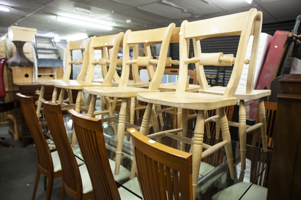 Lot 11 - SET OF EIGHT MODERN PINE DINING CHAIRS