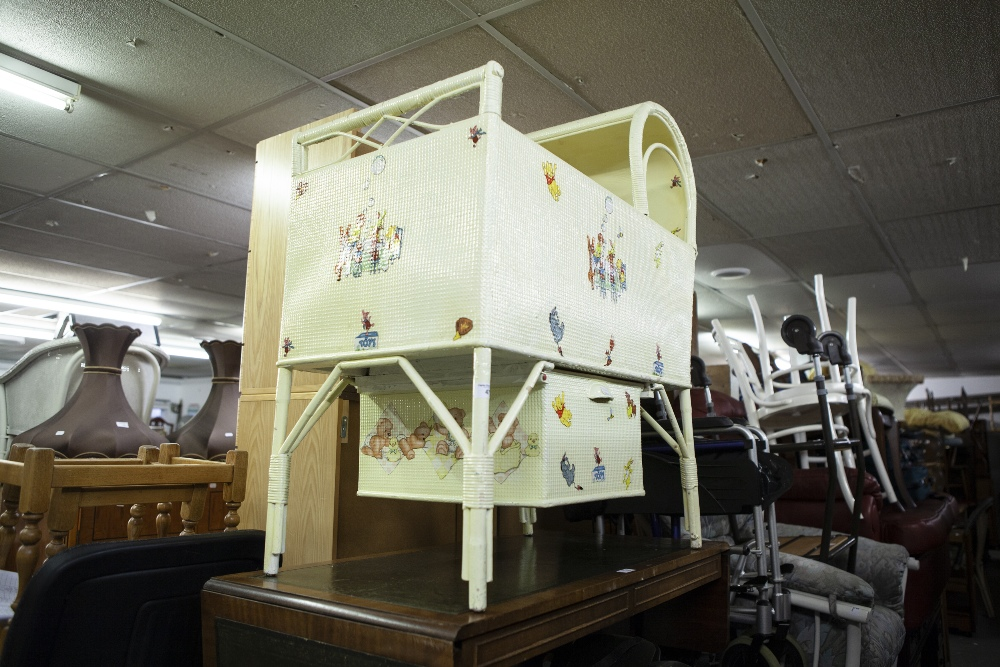 Lot 47 - A BAMBOO AND WICKER CHILD'S YELLOW PAINTED CRIB WITH DRAWER BELOW