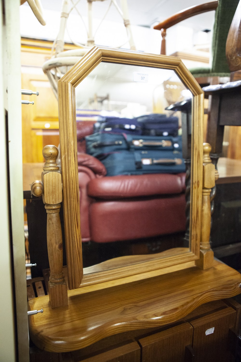 Lot 37 - A MODERN PINE SWING TOILET MIRROR