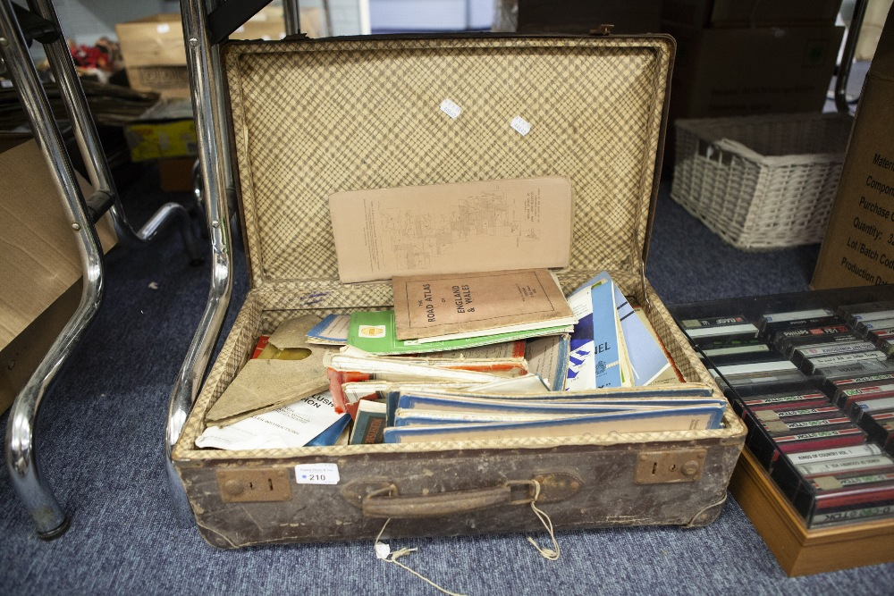 Lot 210 - A COLLECTION OF ORDNANCE SURVEY MAPS, APPROX 20 IN LEATHER SUITCASE