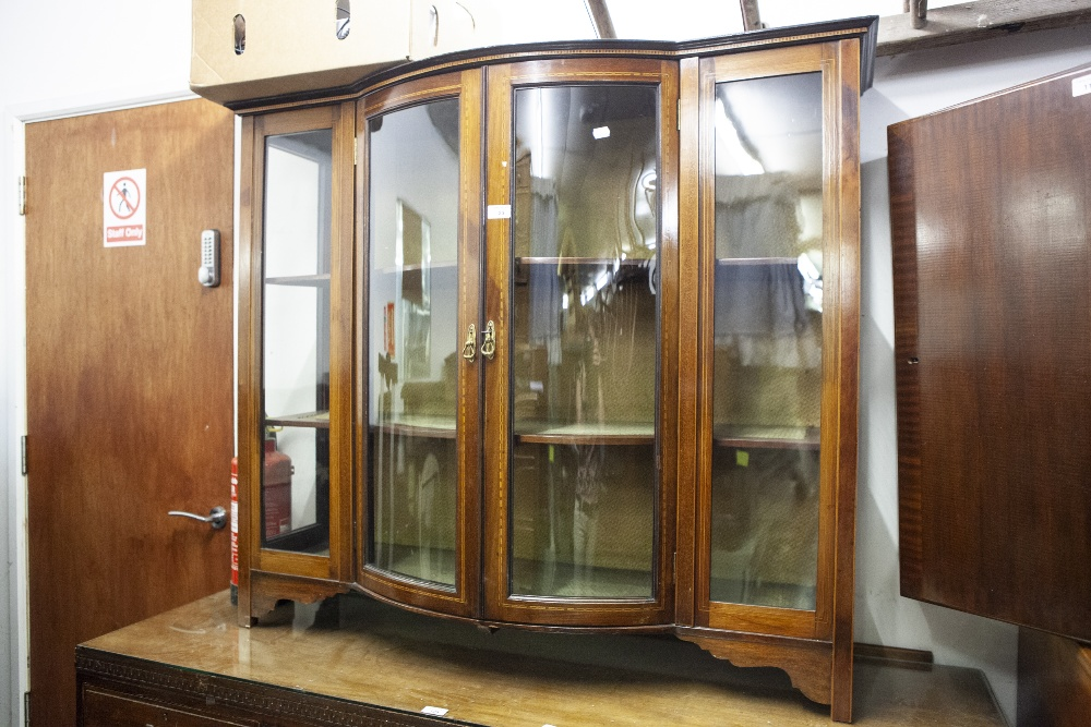Lot 23 - EDWARDIAN MAHOGANY AND INLAY BREAKFRONT DISPLAY CABINET, THE GLAZED DOMED DOORS EXTENDING FRONT