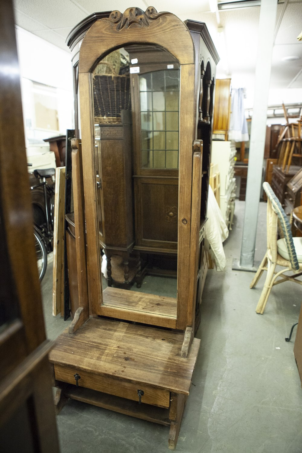 Lot 54 - A LARGE OAK CHEVAL MIRROR WITH SINGLE DRAWER TO BASE