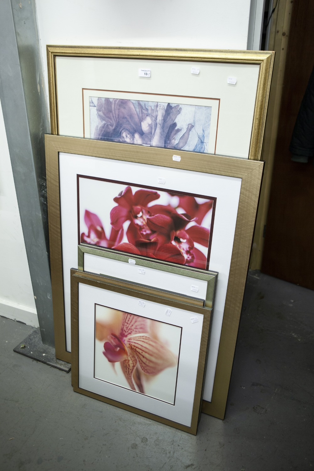 Lot 13 - LARGE FRAMED PRINT 'MICHAEL ANGELO' AND SIX MODERN FRAMED PRINTS OF FLOWERS (7)
