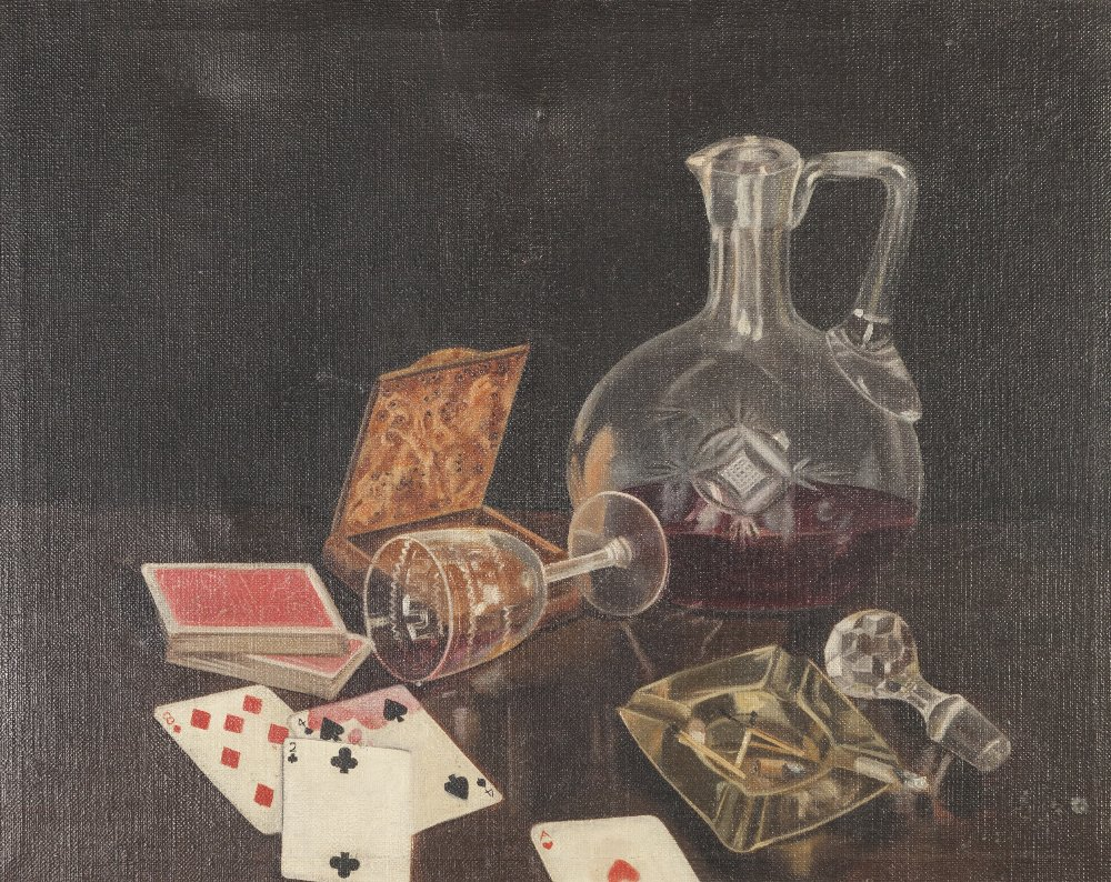Lot 347 - P.J. (TWENTIETH CENTURY) OIL PAINTING ON CANVAS Still life-wine glass, decanter, ashtray and playing