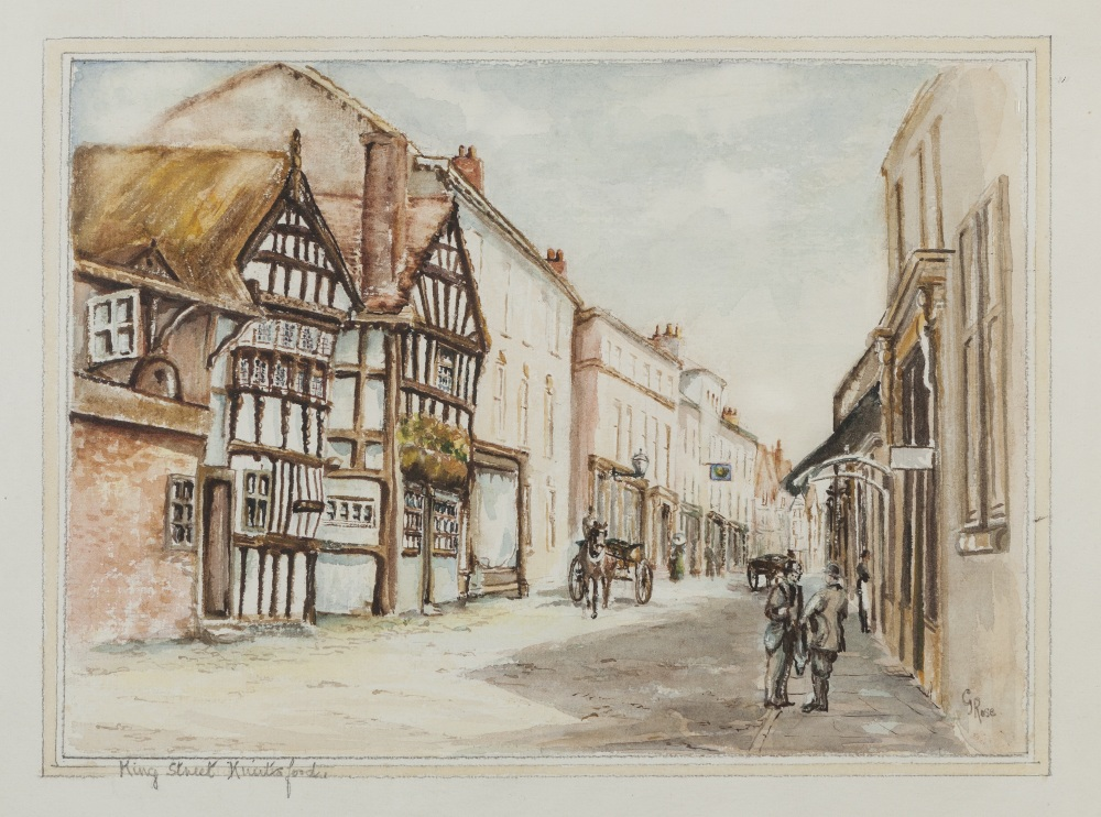 """Lot 370 - G. ROSE WATERCOLOUR 'King Street, Knutsford' 9 1/4"""" x 13"""" (23.5cm x 33cm) G. ROSE OIL PAINTING ON"""