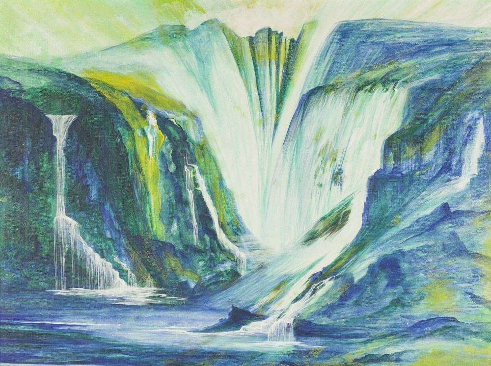 Lot 388 - JOHN CHARLES 'BARRY' STOCKTON (1942-2015) ACRYLIC ON CANVAS Fantasy landscape with waterfall