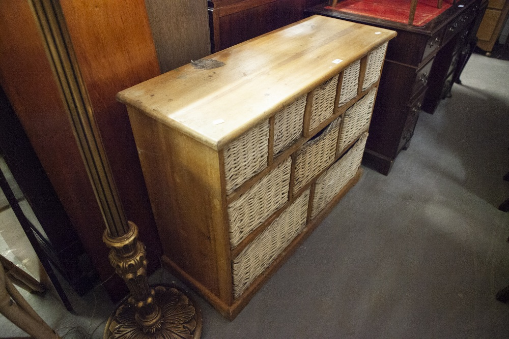 Lot 64 - PINE SIDEBOARD/CUPBOARD WITH BASKETS INSET FOR STORAGE