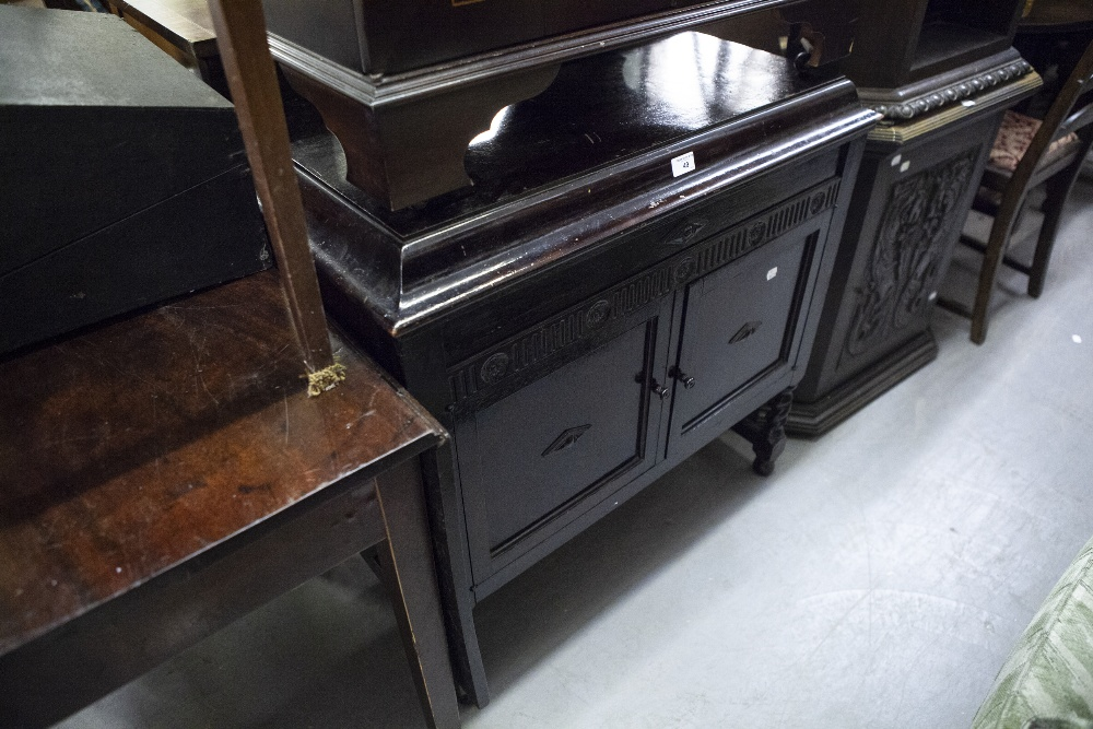 Lot 49 - GILBERT, CIRCA 1920's SPRING DRIVEN GRAMOPHONE WITH SPEAKER AND RECORD STORAGE BEHIND PANEL DOORS