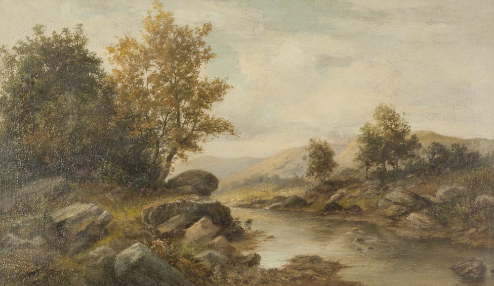 Lot 375 - F.R. OFFER (Late Nineteenth/early Twentieth Century) OIL PAINTING ON CANVAS An upland river