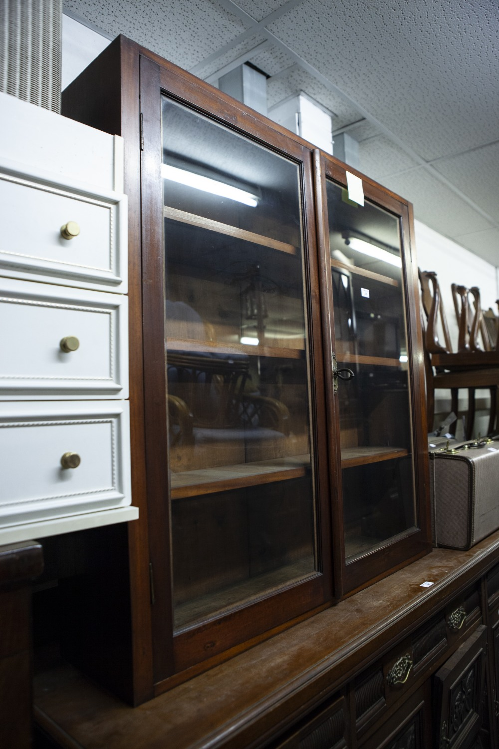 Lot 20 - A MAHOGANY SUPERSTRUCTURE BOOKCASE, WITH TWO GLAZED DOORS