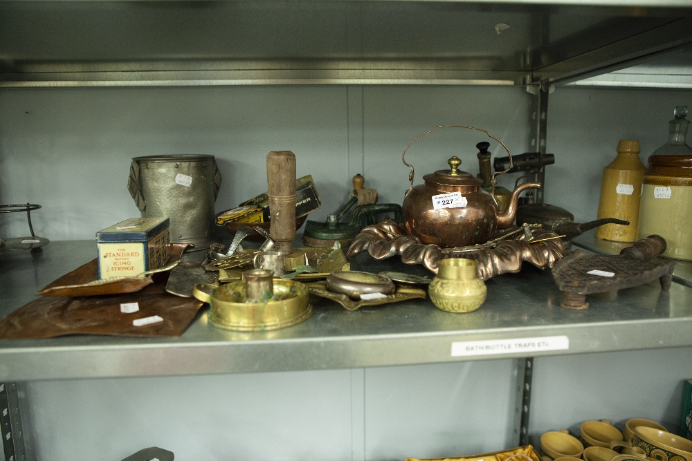 Lot 227 - ASSORTED METAL WARES INCLUDING; A HAMMERED PEWTER SYPHON HOLDER, ARTS AND CRAFTS EMBOSSED COPPER