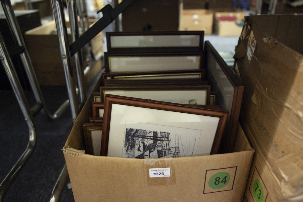 Lot 326 - PICTURES AND PRINTS, VARIOUS, CONTENTS OF ONE BOX