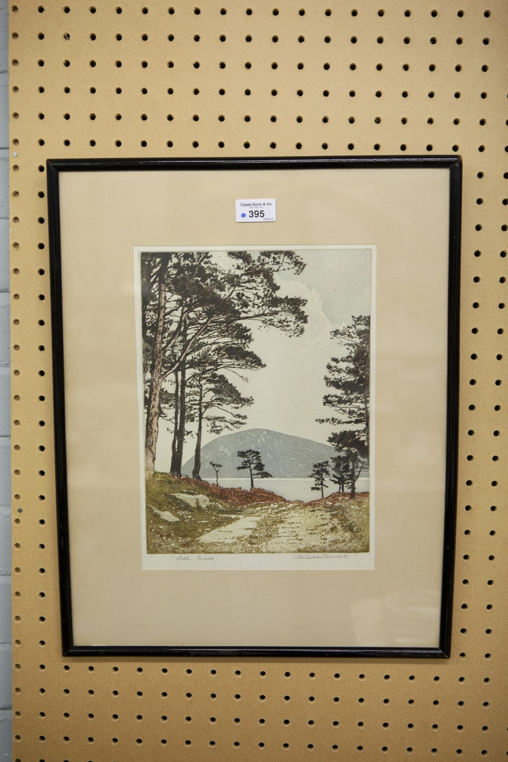 Lot 395 - ANDREW WATSON TURNBULL (b.1874) AQUATINT PRINTED IN COLOUR 'Loch Maree' Signed and titled in