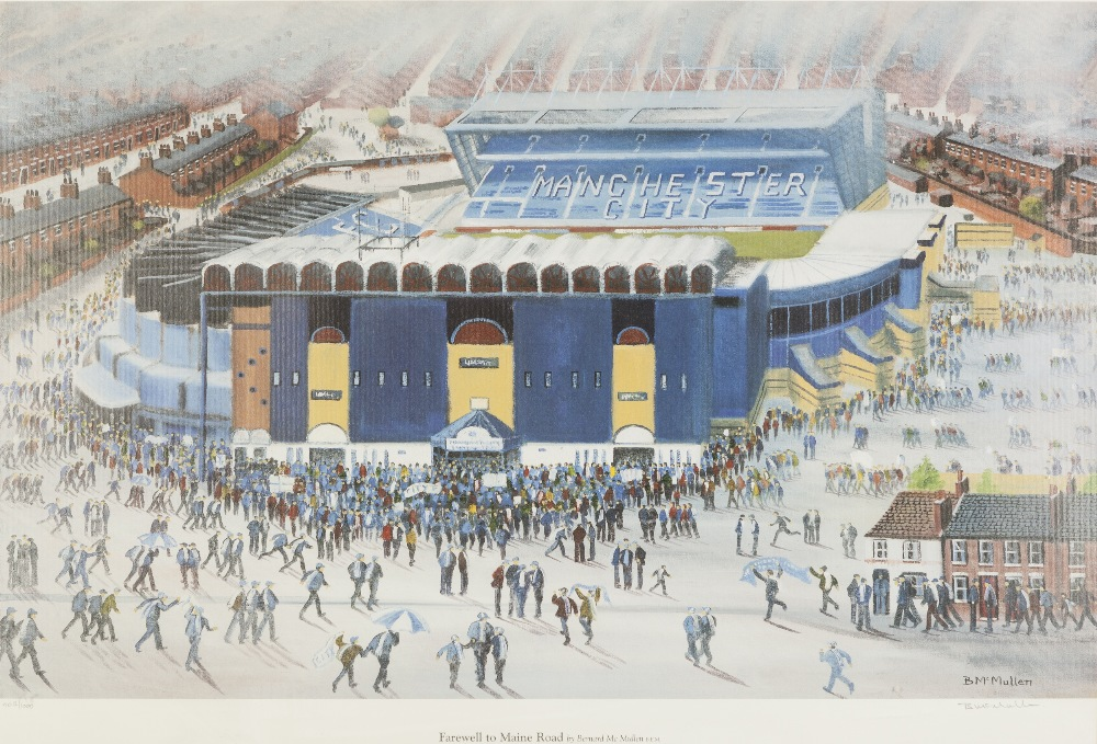 Lot 339 - BERNARD McMULLEN ARTIST SIGNED LIMITED EDITION COLOUR PRINT 'Farewell to Maine Road', (402/1000)