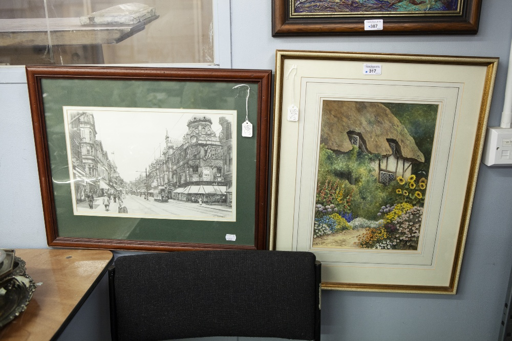 """Lot 317 - J. PILLING (MODERN) PENCIL DRAWING A Yorkshire townscape with trams, SIGNED AND DATED (19) 77 10"""""""