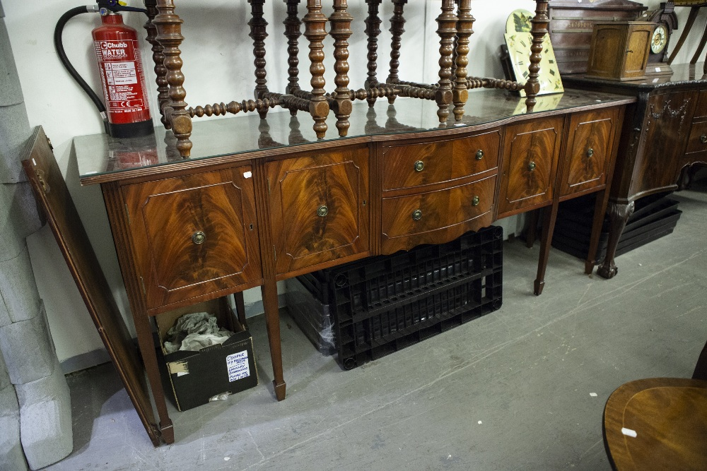 Lot 25 - SHAW OF LONDON, DINING ROOM SUITE, COMPRISING; BREAKFRONT SIDEBOARD, DINING TABLE, on twin